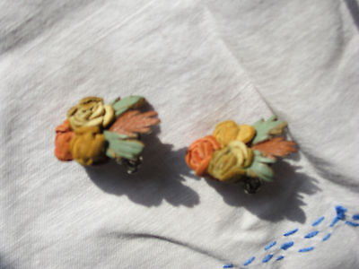 Vintage Jewelry set of Flower Earrings Bought At Estate Sale New Old Stock