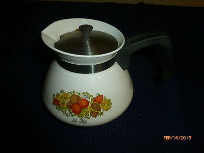 VINTAGE Corning Ware SPICE OF LIFE Le The Teapot Coffee Pot Kettle 6 cup P 104