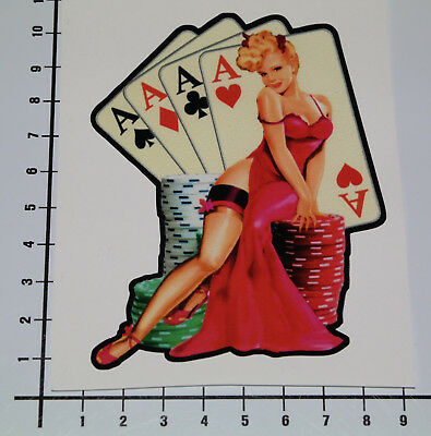 PIN UP CARDS VINTAGE Aufkleber Sticker Old School Auto Girl Decal Poker V8 Pu055