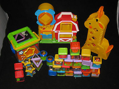 FISHER PRICE PEEK A BLOCKS AND TOYS BABY PRESCHOOL DAYCARE  TOY LOT