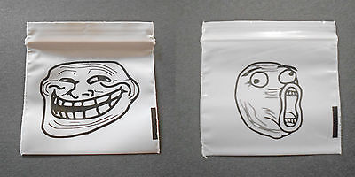 100 Mix (Troll Face, Problem? LOL Meme) Small Poly Baggies Little Tiny Dime Bags