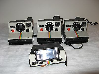 LOT OF 3 POLAROID RAINBOW ONE STEP LAND CAMERAS + FLASH ATTACHEMENT Q-LIGHT