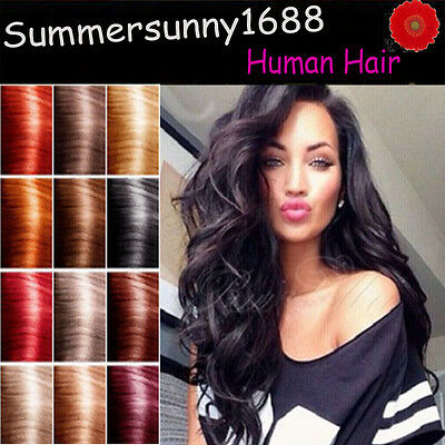 100% Real HOT Clip In Remy Human Hair Extensions Full Head 7PCS 16-20-22'' SS27