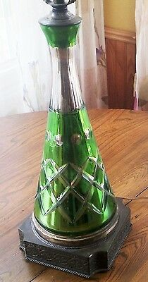 VINTAGE 30s CUT TO CLEAR BOHEMIAN GLASS GREEN DECANTER LAMP STUNNING