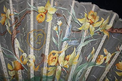 Small Antique Fan with Hand-painted Yellow Spring Flowers, Artist Signed