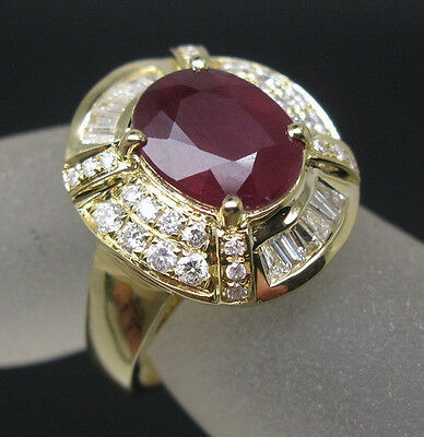 Solid 14K Yellow Gold Genuine 5.20ct Natural Blood Ruby Engagement Diamond Ring