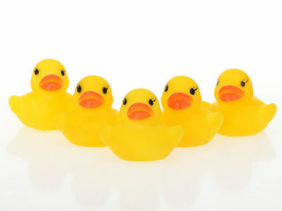 20X New Yellow Baby Kids Children Bath Toys Cute Rubber Race Squeaky Duck Ducky