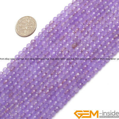"""4MM Faceted Round Purple Jade Gemstone  Jewelry Making Beads Spacer Strand 15"""""""