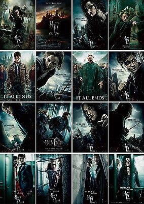 """Mini Movie Poster (16 pcs) HP7 Harry Potter And The Deathly Hallows, 6""""x8.5"""""""