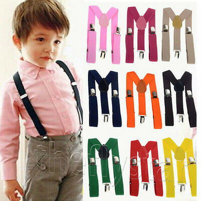10Colors  Baby Boys Girls Clip-on Suspender Y-Back Child Elastic Suspenders New