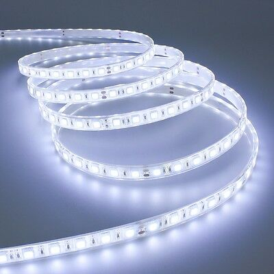 Striscia A Luce Led Bianca Fredda Smd 5050 Strip 5 Metri 300 Led Impermeabile Sc