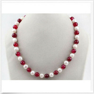 6-7mm white Round Freshwater Pearl 6mm red coral Necklace 18inch