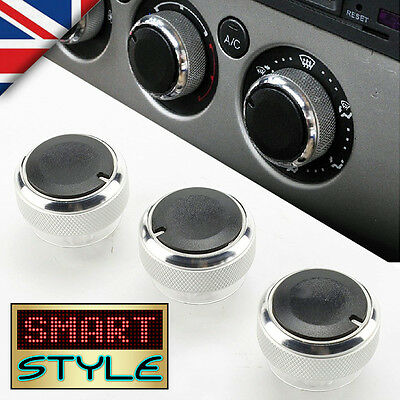 SmartStyle SILVER Aluminium Heater Knobs Buttons for Ford Focus/C-Max/S-Max/ST