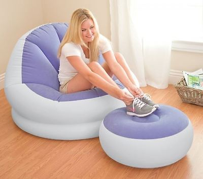 Intex Café Chaise Lounge Inflatable Camping Chair With Foot Stool *fast Delivery
