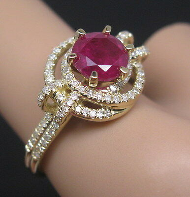 Solid 14K Yellow Gold Genuine Natural Diamond Blood Ruby Engagement Wedding Ring