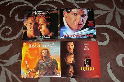 Laserdisc Lot of 4 Movies. Brave Heart, Outbreak, The Devil's Own, Air Force One