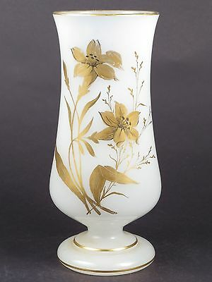 ANTIQUE VENETIAN BLOWN Hand Painted FROSTED GLASS VASE URN LAMP BASE OOAK!