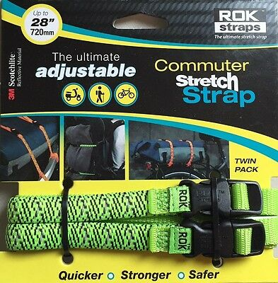 "ROK Straps Commuter adjustable Luggage Tie Down 12"" - 28"" x 3/8"" Bicycle Green"