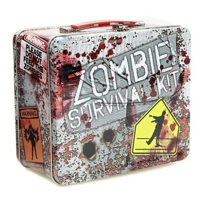Zombie Apocalypse Survival Kit Funny Lunch Box Metal Clasp Bloody Tin Tote