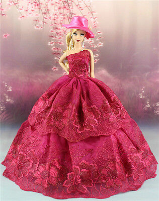 Rose Fashion Princess Party Dress/Evening Clothes/Gown+Hat For Barbie Doll S506P