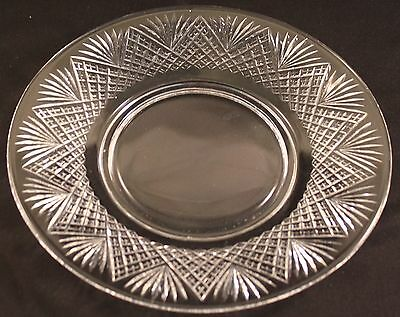 Hawkes Crystal Strawberry Diamond & Fan Pattern Luncheon Plate 12 Available