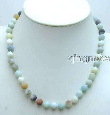 """SALE small 8mm Round frost Blue mix Amazonite 17"""" necklace -nec5828"""