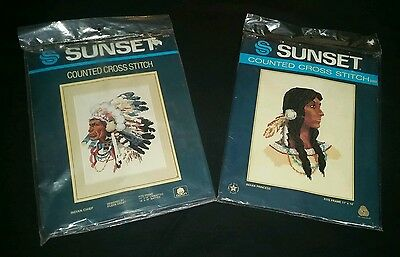 LOT-2 SUNSET Counted Cross-stitch INDIAN CHIEF & PRINCESS 2959 3003 *NOS*