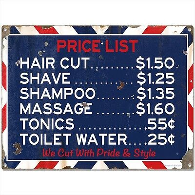Barber Shop Prices Distressed Metal Sign Vintage Style Bathroom Decor 16 x 12
