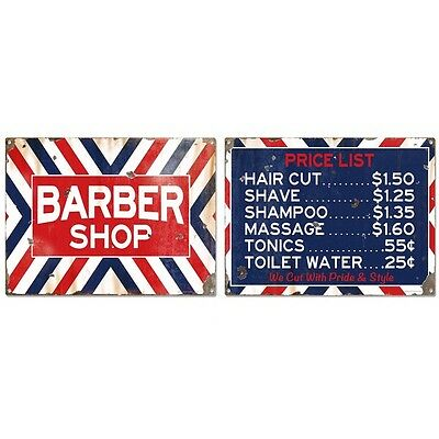 Barber Shop Price List Distressed Sign Set Vintage Style Reproductions