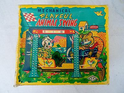 Vintage Tin Mechanical Animal Swing In Original Box * Must See!! No Reserve!