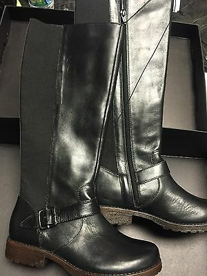 Kenneth Cole New York Jenny Tall Black Leather Stretch Buckle Boots NIB