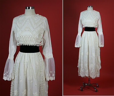 1900s 1910s EDWARDIAN Antique Embroidered Cotton Lawn Party Dress XS