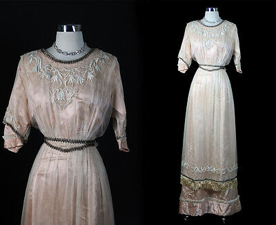 EDWARDIAN 1900s  Antique Illusion Beaded Embroidery Dress Gown