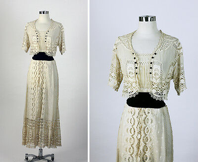 EDWARDIAN 1900s 1910 Antique Vintage  Crochet Embroidery Dress Gown