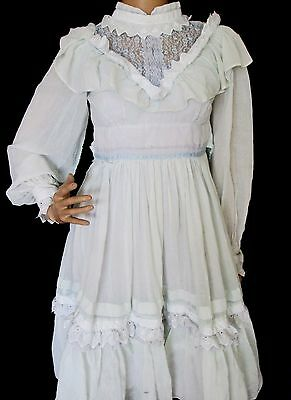 Little House on the Prairie Vintage PEASANT blue Ruffle Lace COLONIAL DRESS girl