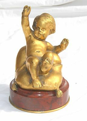 MAGNIFICENT 19c  FRENCH BRONZE ON MARBLE, BABY, SIGNED ROZEL, FUMIERE FOUNDARY