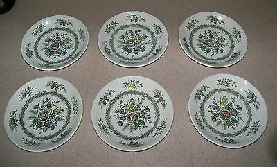 Lot of 6 Vintage Wood & Sons Rosedale Flower Rope England Saucers Plates Dishes