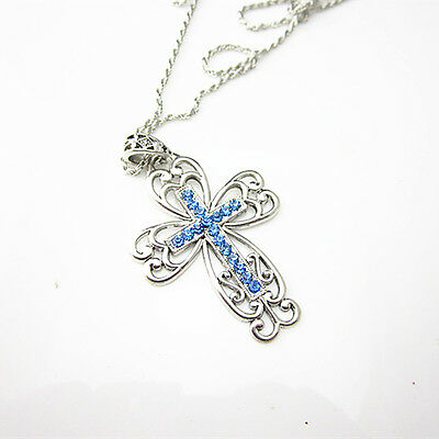 Antique Tibetan Silver Plated Blue Crystal Lace Cross Pendant Chain Necklace