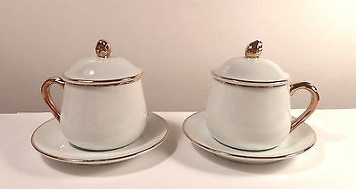 Two Andrea by Sadak COVERED DEMITASSE CUPS  - UNUSED