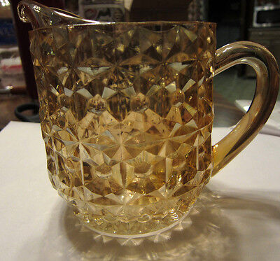 Depression Glass Milk Pitcher Jeannette Pink Buttons and Bows Iridescent