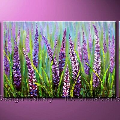 Handmade Wild Lavender Large Original Modern Abstract Art Oil Painting On Canvas