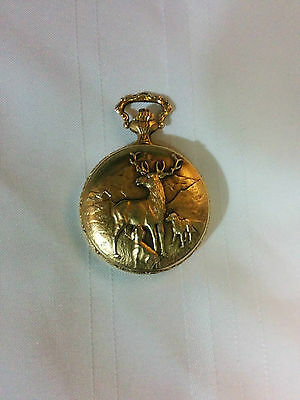 Vintage EST Pocket Watch Swiss 17 Jewels Gold Brass Tone Hunting Deer Dogs Crown