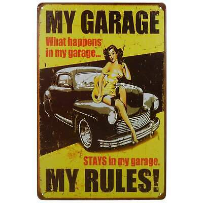 My Garage My Rules Retro Metal Tin Sign Homewares Bar Decor Kitsch Pin Up Pub