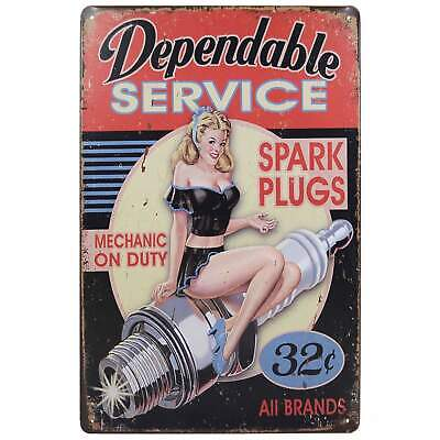 Dependable Service Retro Metal Tin Sign Homewares Bar Decor Kitsch Pin Up Pub