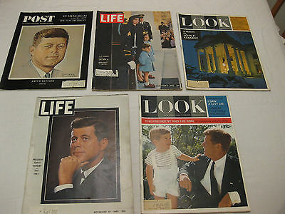 Lot of 5 LIFE, LOOK, POST Magazine President John F Kennedy Assassination 1963
