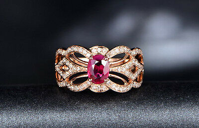 Solid 14K Rose Gold Genuine Natural Diamond Blood Ruby Engagement Jewelry Ring
