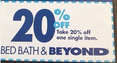 TWO Bed Bath & Beyond In Store 20% Off One Item Voucher