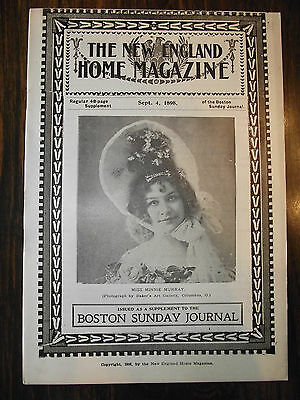 9.4.1898 NEW ENGLAND MAGAZINE ~ COVER DEPICTS~  MINNIE MURRAY