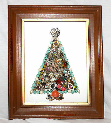VTG SMALL FRAMED COSTUME JEWELRY CHRISTMAS TREE COLLAGE WALL PICTURE RETRO DECOR