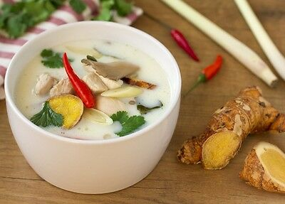 Food Recipe Thai Chicken Soup With Coconut Milk Dish Asian DIY Cooking Kitchen
